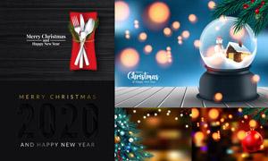 水晶球等圣诞新年主题创意矢量素材