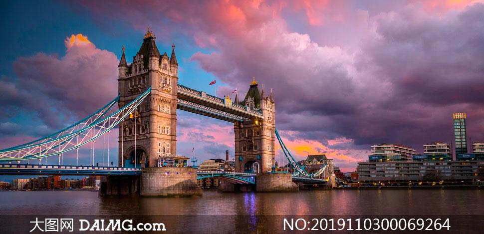 夕阳下的伦敦塔桥高清摄影图片