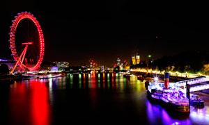 泰晤士河畔伦敦眼美丽夜景摄影图片