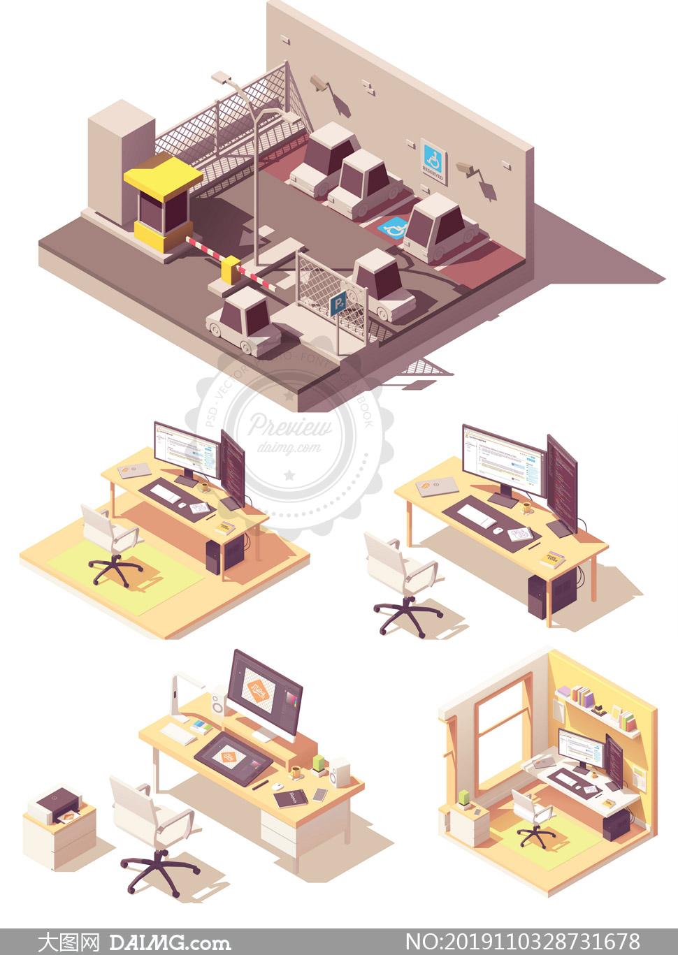 停车场与办公室桌椅等创意矢量素材