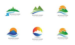 山峰河流元素标志创意设计矢量素材
