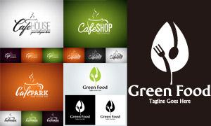 绿叶餐叉与咖啡杯创意标志矢量素材