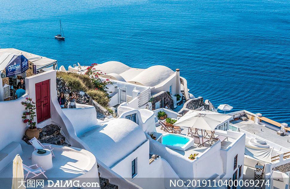 希腊圣托里尼伊亚别墅高清摄影图片