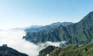 湖北恩施山中云雾美景摄影图片