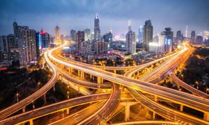 上海延安路高架桥美丽夜景摄影图片