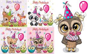 气球与卡通动物等生日创意矢量素材