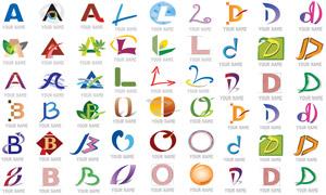 线条绿叶元素字母标志创意矢量素材