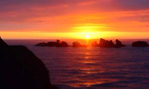 夕阳下的大海和礁石摄影图片