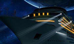 輪船照片改為夜景效果PS教程素材