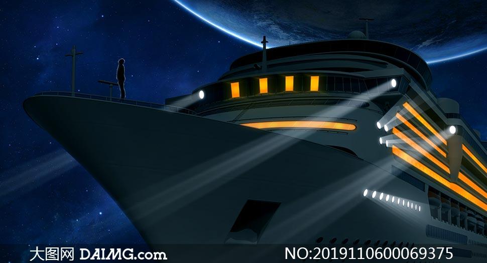 轮船照片改为夜景效果PS教程素材