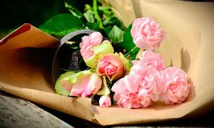 纸张包着的粉色玫瑰花摄影图片