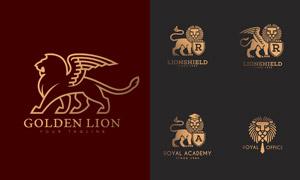 字母盾牌与狮子图案等标志矢量素材