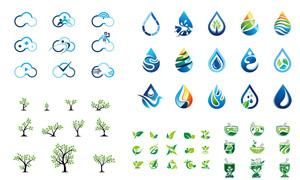 水滴形状与绿叶等标志设计矢量素材