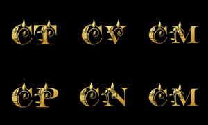 树叶点缀的字母组合创意矢量素材V04