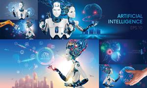 机器人等未来科技插画创意矢量素材