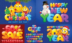 圣诞节卡通可爱风英文字母矢量素材