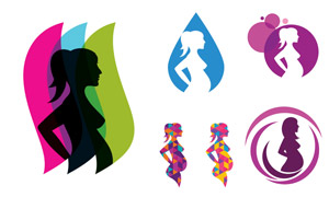 几何炫彩孕妇人物剪影创意矢量素材