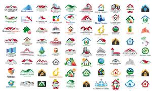 叶子房子等元素房地产标志矢量素材