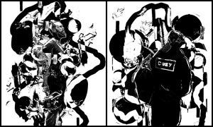 中国传统抽象水墨海报设计PS动作