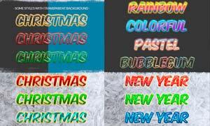 22款冬季圣诞节主题艺术字设计PS样式