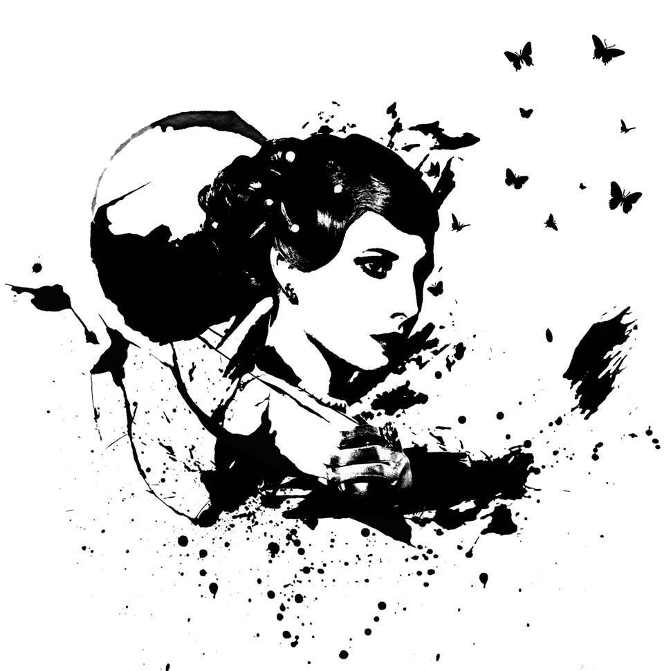 黑白效果矢量绘画艺术效果PS动作