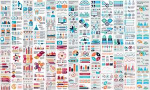 时尚统计图与流程图表元素矢量素材