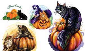 南瓜魔法帽与猫咪主题设计矢量素材