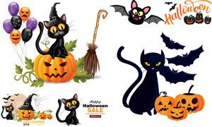 南瓜与黑猫咪蝙蝠等万圣节矢量素材