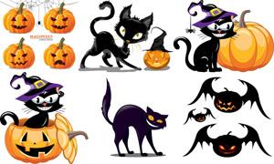 黑猫南瓜等万圣节创意设计矢量素材