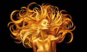头发飘起来的金色美女创意高清图片