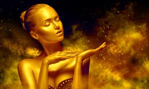盘发造型金色皮肤美女创意高清图片
