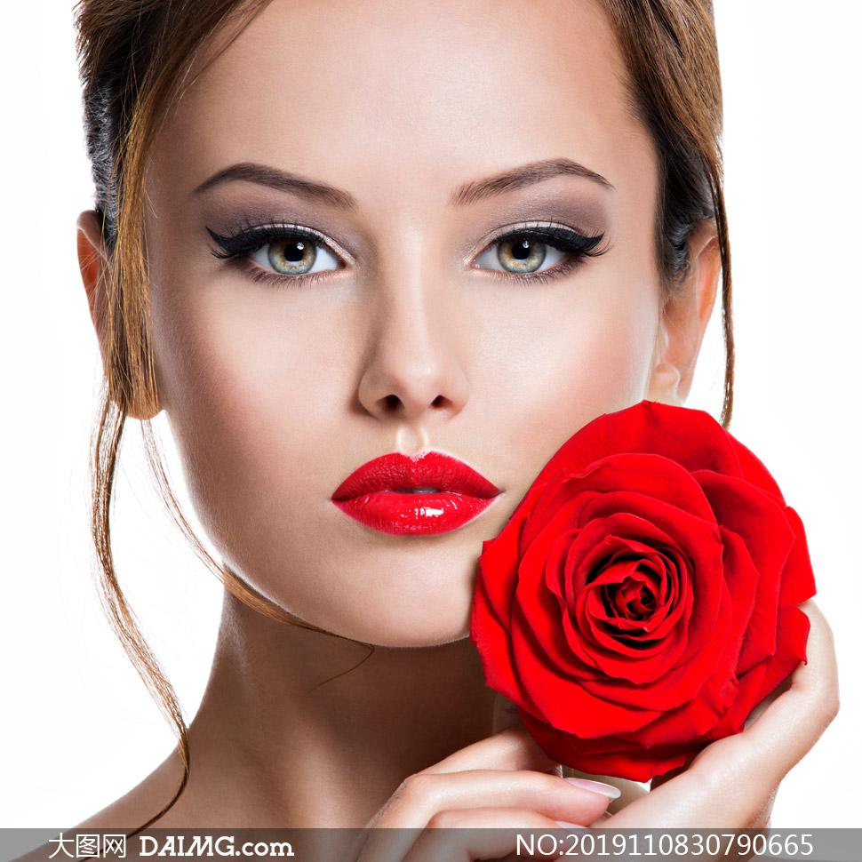 红唇人物欧美模特写真摄影高清图片