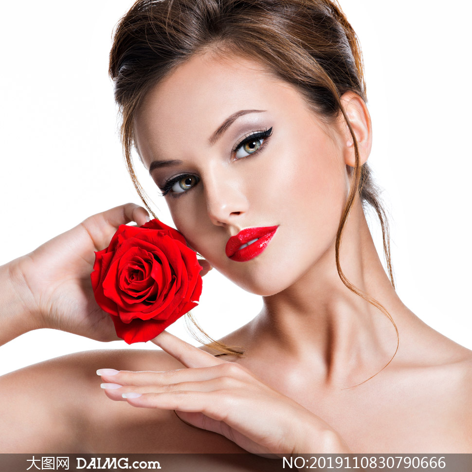 如玫瑰花红的唇妆美女摄影高清图片