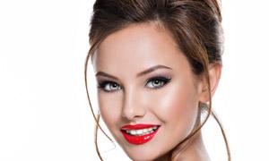 开口笑的红唇浓妆美女摄影高清图片