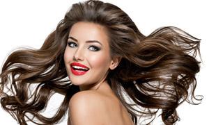 风吹头发效果红唇美女摄影高清图片