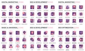 多款紫色图标创意设计主题矢量素材