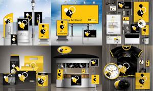 手提袋廣告牌等VI元素應用矢量素材