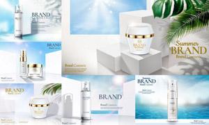逼真質感防曬產品廣告設計矢量素材
