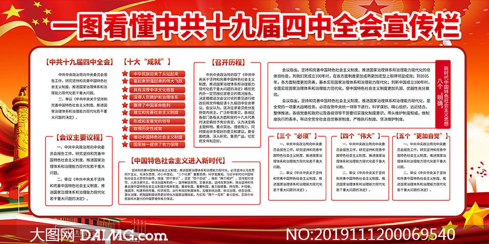 十九届四中全会党建宣传栏设计PSD素材