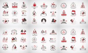 圣诞老人与雪花等圣诞元素矢量素材