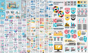 色彩丰富的统计图元素创意矢量素材