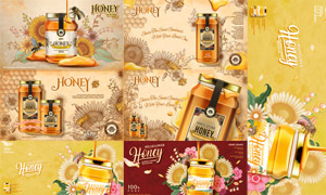 向日葵與蜂蜜制品廣告設計矢量素材