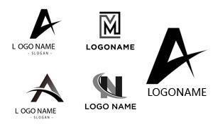 曲线方形元素字母创意标志矢量素材