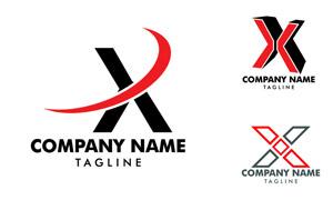 红黑配色英文字母标志创意矢量素材