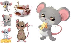 啃食奶酪的小老鼠卡通创意矢量素材