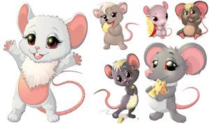 可爱风格设定的小老鼠创意矢量素材