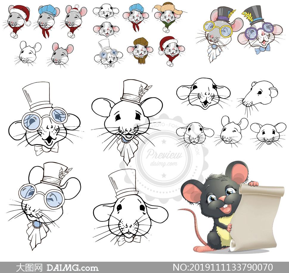 看信件的小老鼠等卡通创意矢量素材