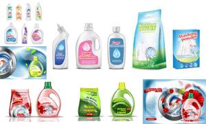 洗衣液等家庭日化产品广告矢量素材