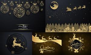 挂球与驯鹿剪影元素圣诞节矢量素材