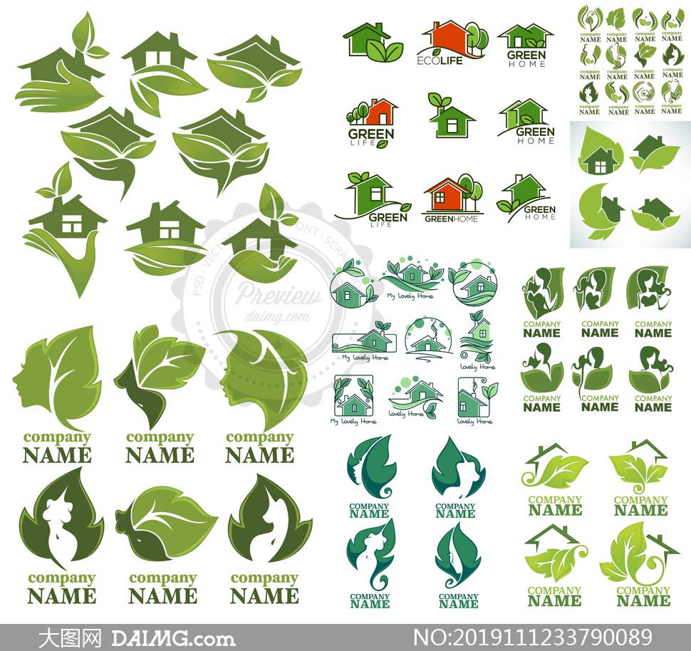 绿叶与房子人物等创意标志矢量素材